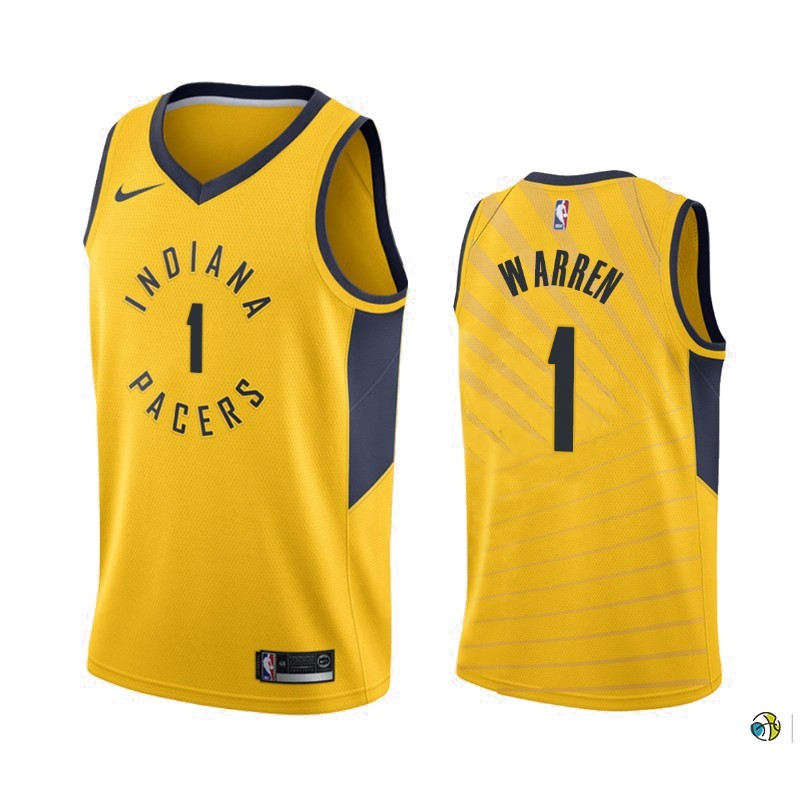 Maillot NBA Nike Indiana Pacers NO.1 T.J. Warren Gray Jaune Statement 2019-20