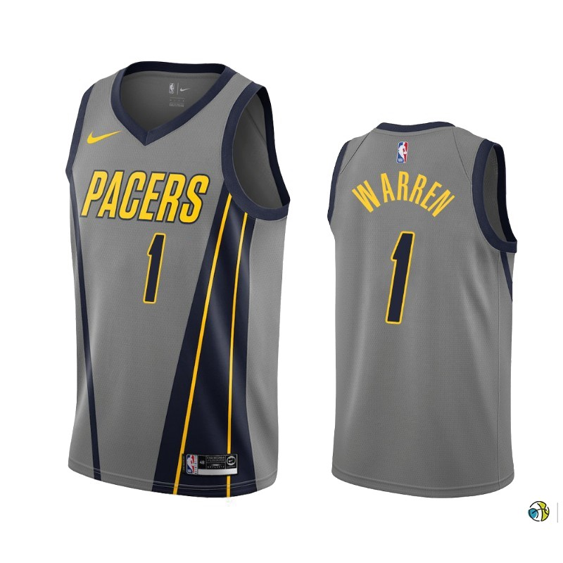 Maillot NBA Nike Indiana Pacers NO.1 T.J. Warren Gray Nike Gris Ville 2019-20