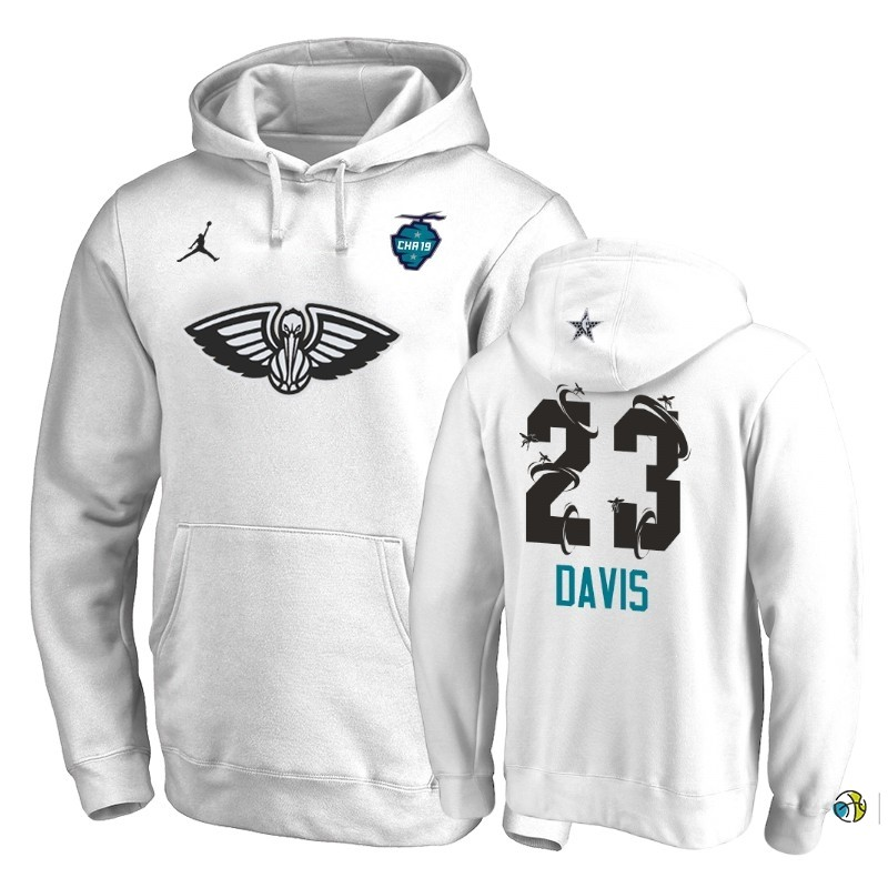 Hoodies NBA New Orleans Pelicans NO.23 Anthony Davis Blanc