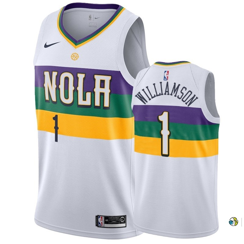 Maillot NBA Nike New Orleans Pelicans NO.1 Zion Williamson Blanc Ville