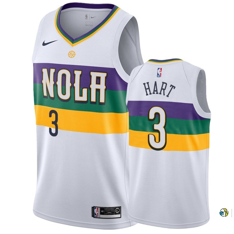 Maillot NBA Nike New Orleans Pelicans NO.3 Josh Hart Blanc Ville 2019-20