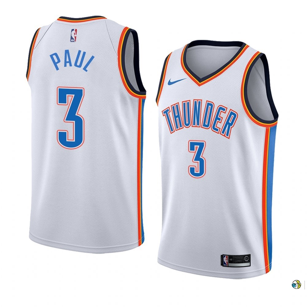Maillot NBA Nike Oklahoma City Thunder NO.3 Chris Paul Blanc Association Edition