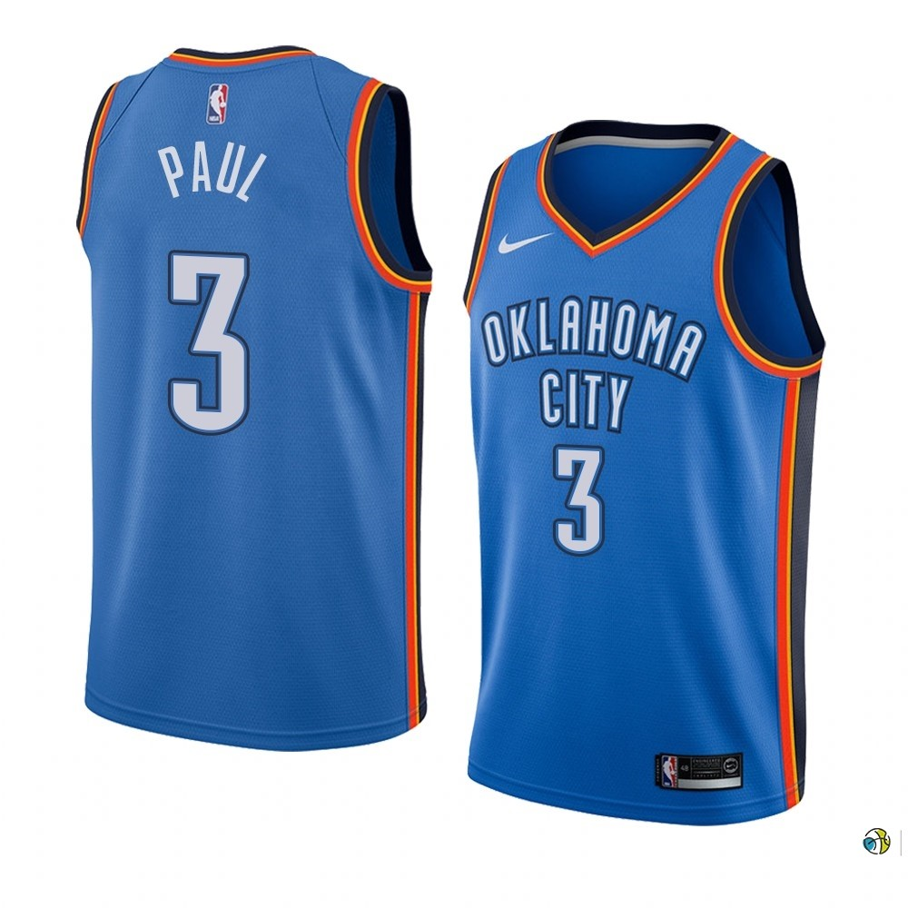 Maillot NBA Nike Oklahoma City Thunder NO.3 Chris Paul Bleu Icon Edition