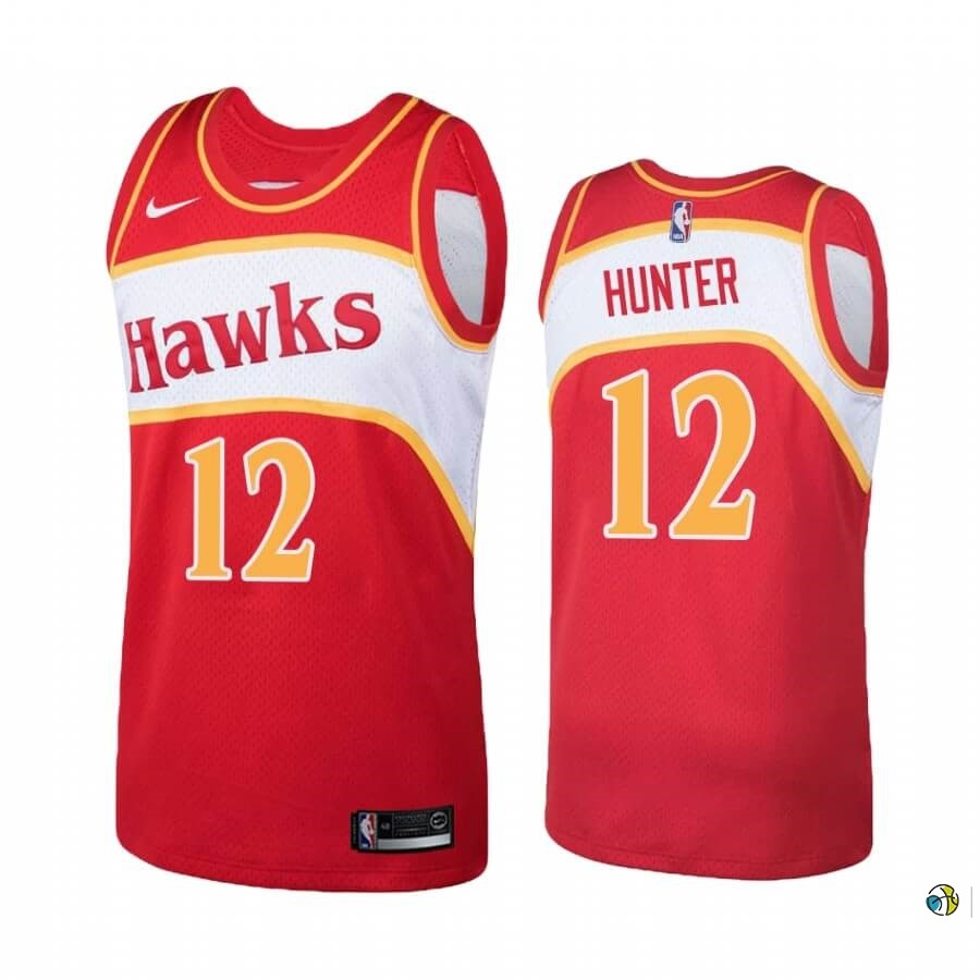 Maillot NBA Atlanta Hawks NO.12 De'andre Hunter Rouge Hardwood Classics