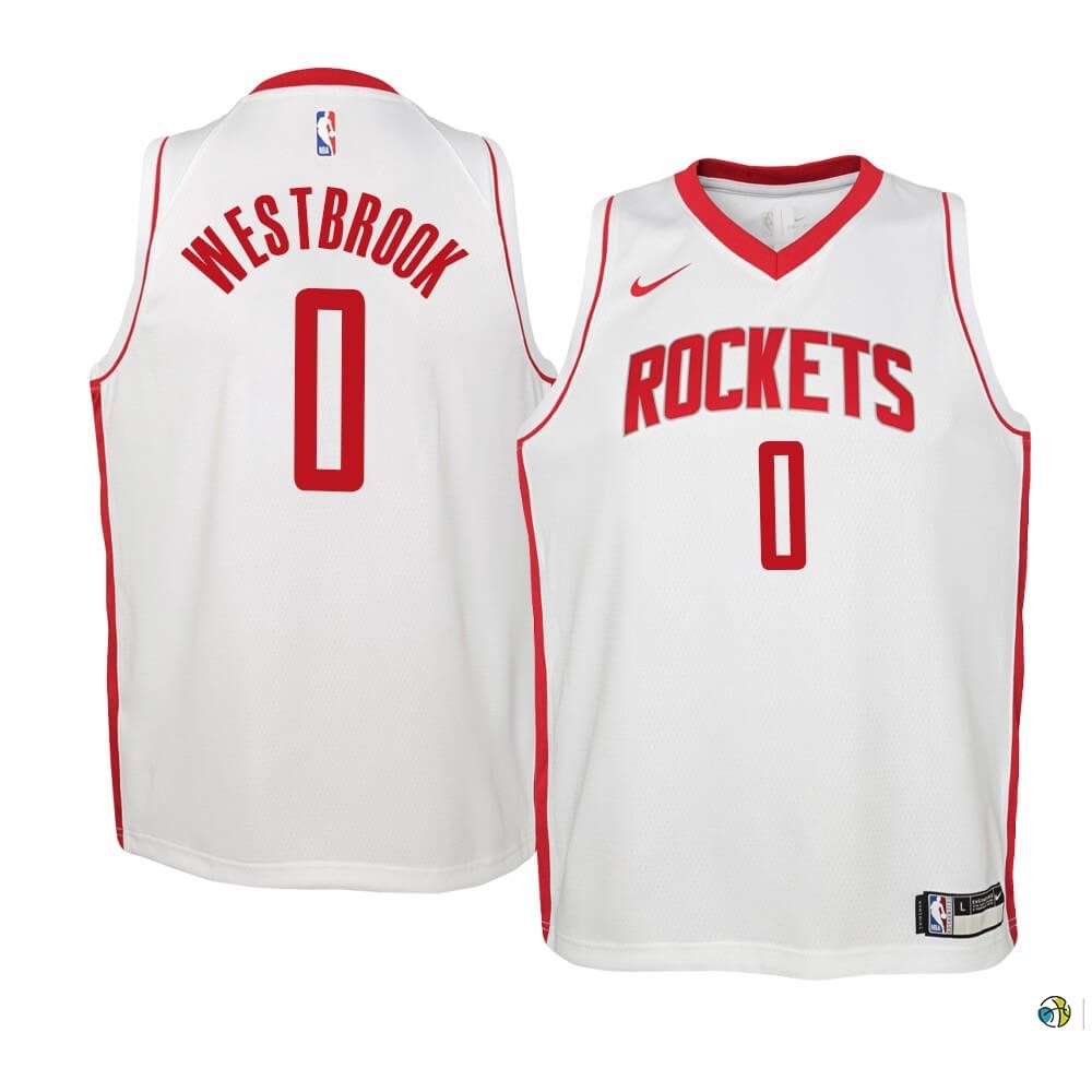 Maillot NBA Enfant Houston Rockets NO.0 Russell Westbrook Blanc Association 2019-20