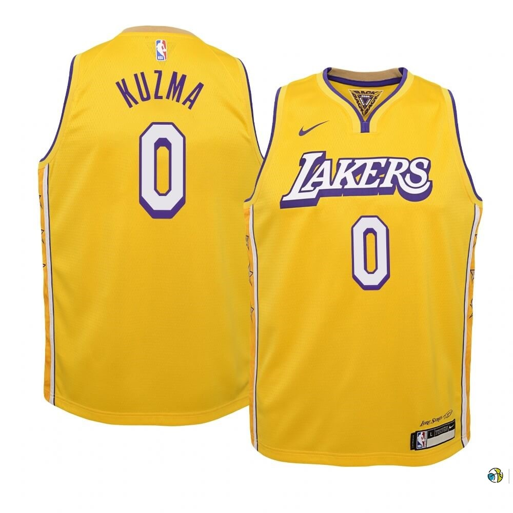 Maillot NBA Enfant Los Angeles Lakers NO.0 Kyle Kuzma Nike Jaune Ville 2019-20