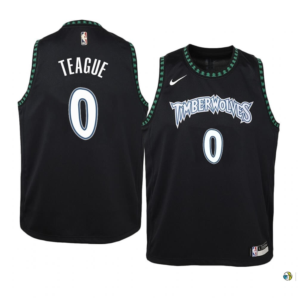Maillot NBA Enfant Minnesota Timberwolves NO.0 Jeff Teague Noir Hardwood Classics