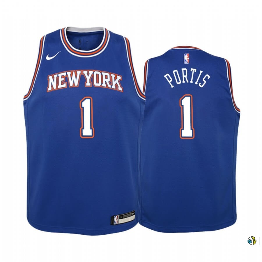Maillot NBA Enfant New York Knicks NO.1 Bobby Portis Bleu Statement 2019-20