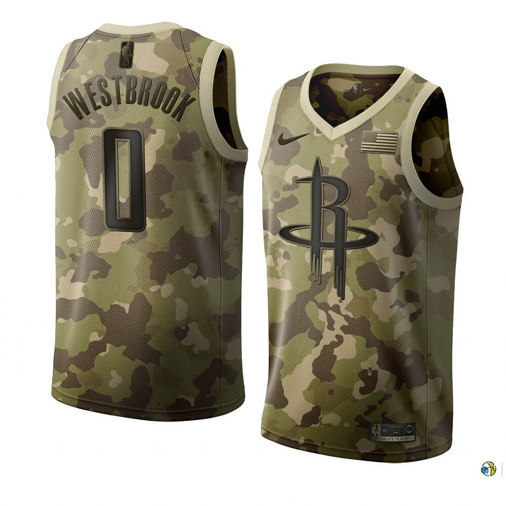 Maillot NBA Nike Houston Rockets NO.0 Russell Westbrook Camouflage 2019