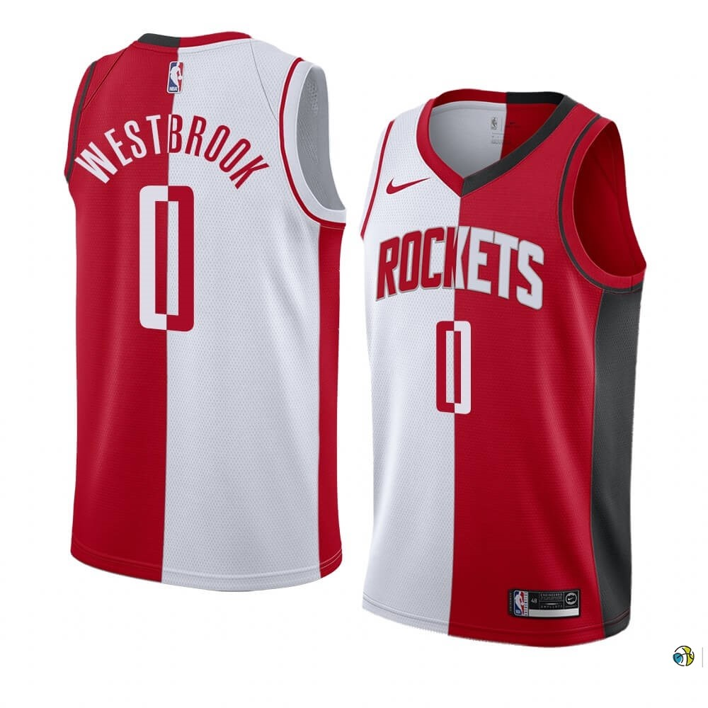 Maillot NBA Nike Houston Rockets NO.0 Russell Westbrook Rouge Blanc Split Edition