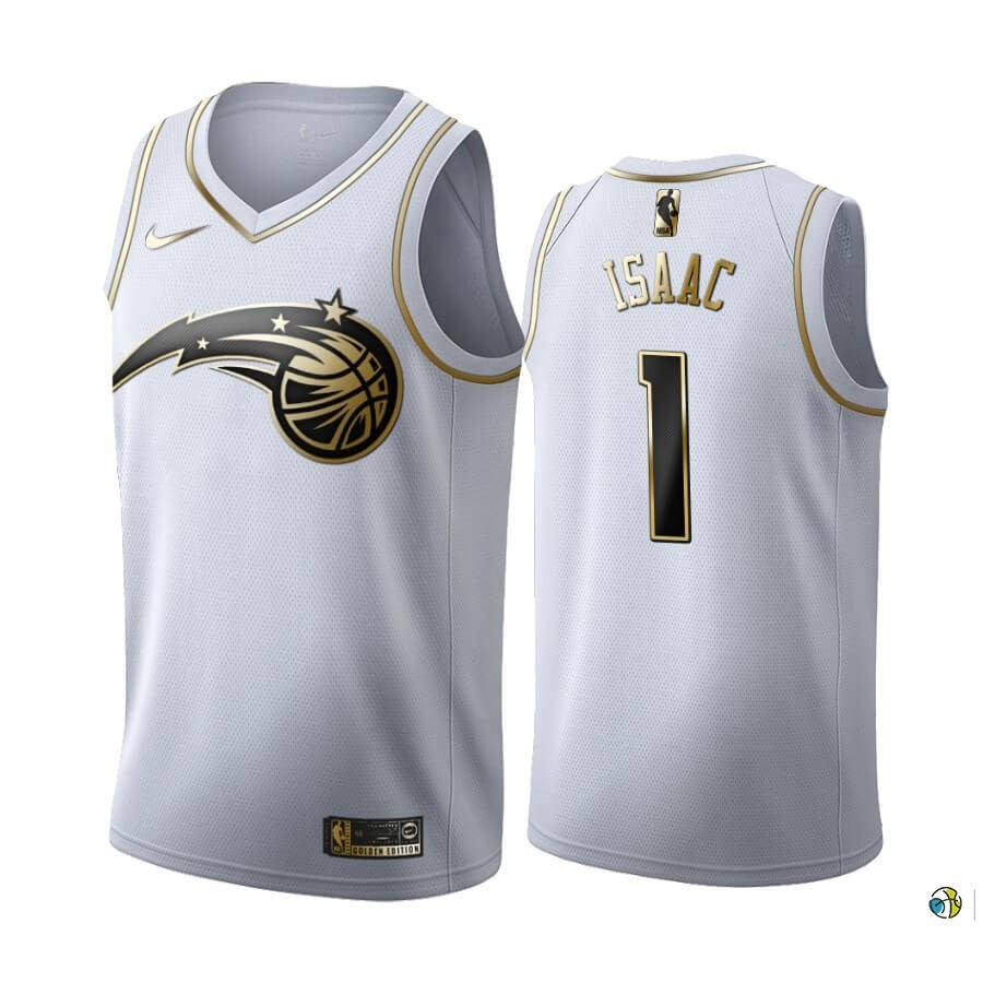 Maillot NBA Nike Orlando Magic NO.1 Jonathan Isaac Blanc Or 2019-20