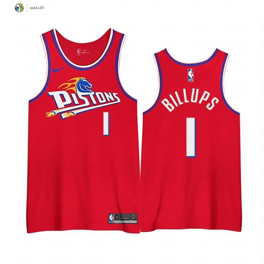 Maillot NBA Earned Edition Detroit Pistons NO.1 Chauncey Billups Rouge 2020-21