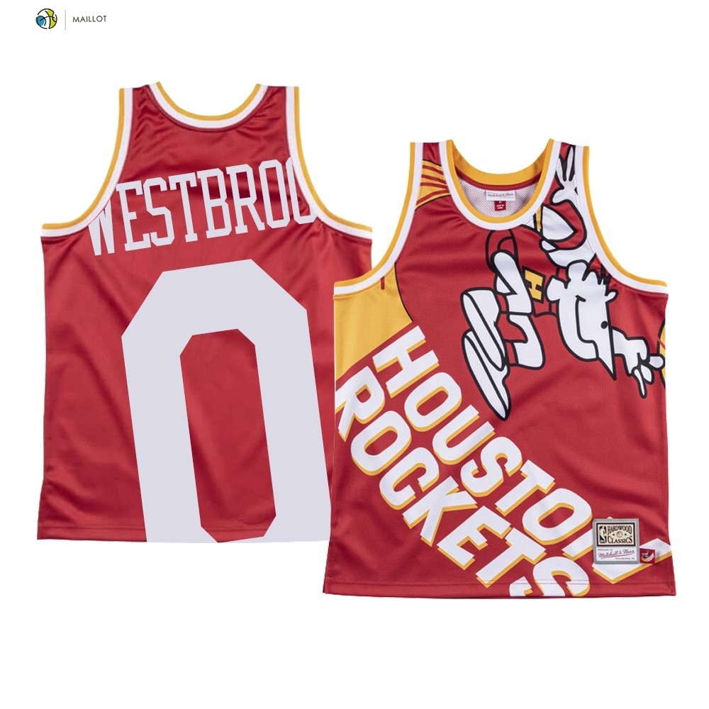 Maillot NBA Houston Rockets Big Face NO.0 Russell Westbrook Rouge