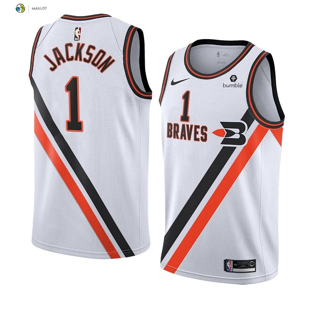 Maillot NBA Nike Los Angeles Clippers NO.1 Reggie Jackson Blanc Ville 2019-20