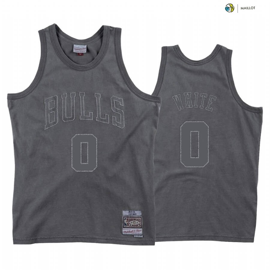 Maillot NBA Chicago Bulls NO.0 Coby White Washed Out Gris Hardwood Classics 2020