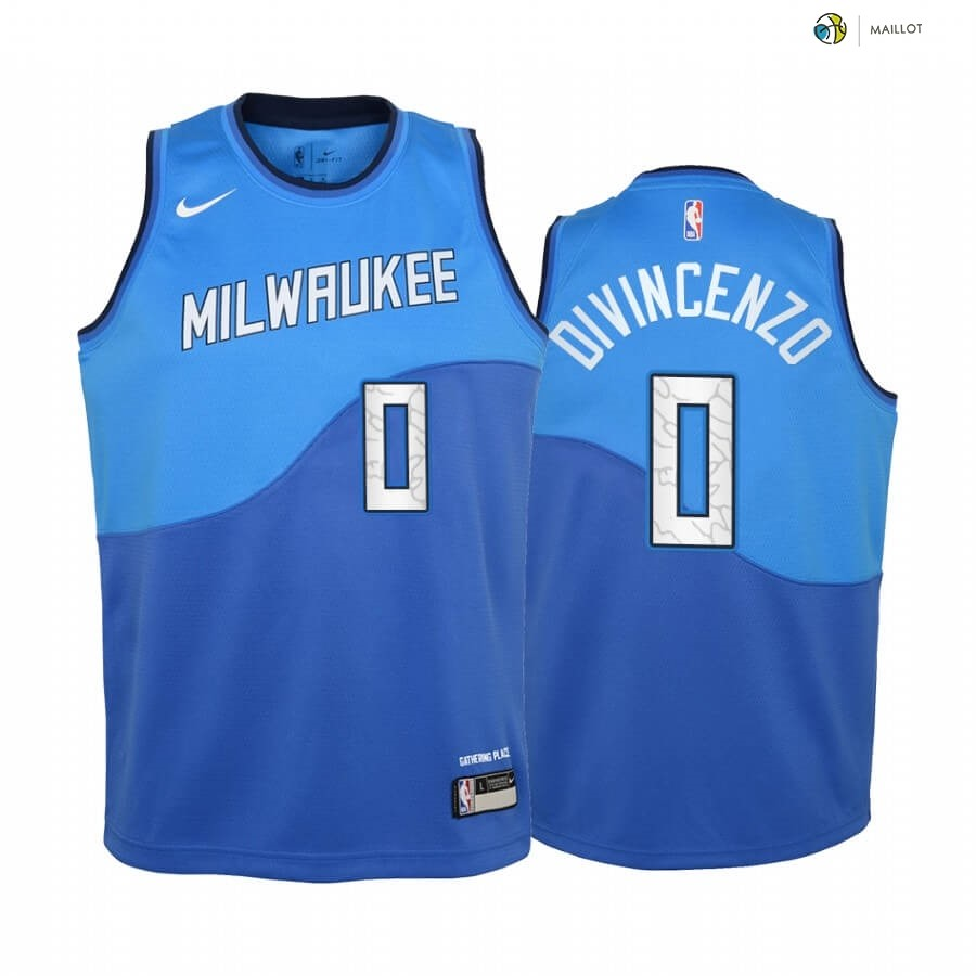 Maillot NBA Enfant Milwaukee Bucks NO.0 Donte DiVincenzo Bleu Ville 2020-21
