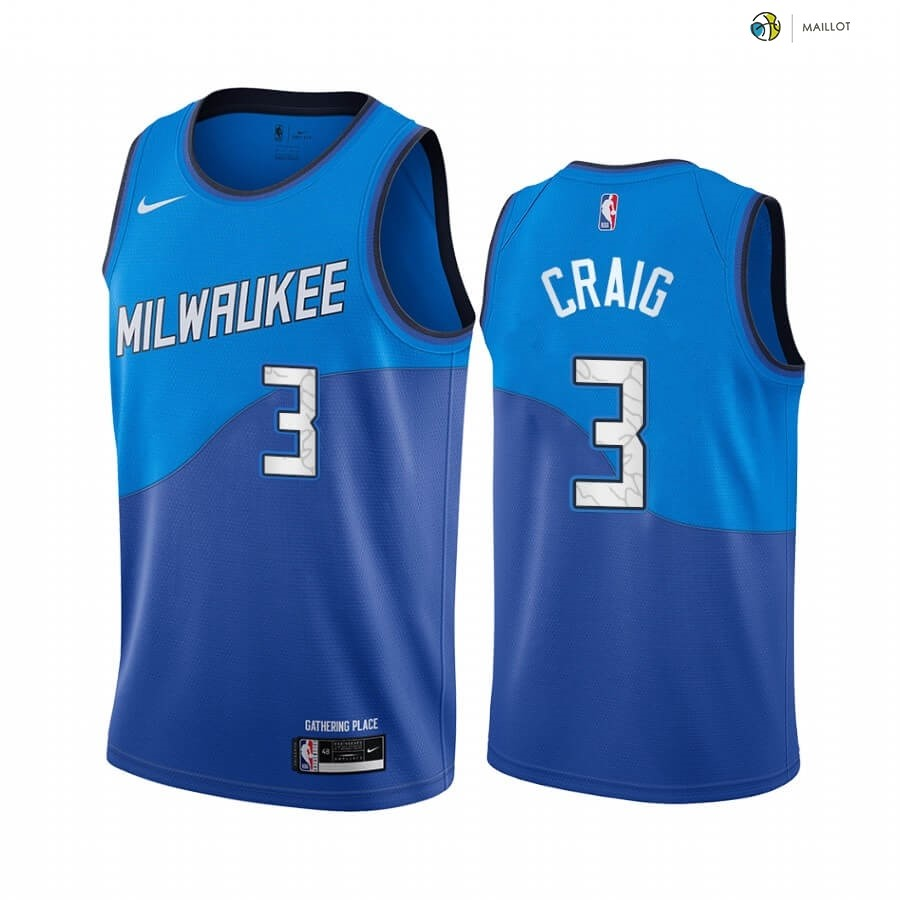 Maillot NBA Enfant Milwaukee Bucks NO.3 Torrey Craig Bleu Ville 2020-21