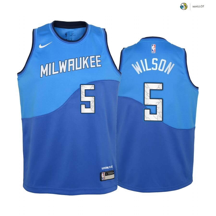 Maillot NBA Enfant Milwaukee Bucks NO.5 D.J. Wilson Bleu Ville 2020-21