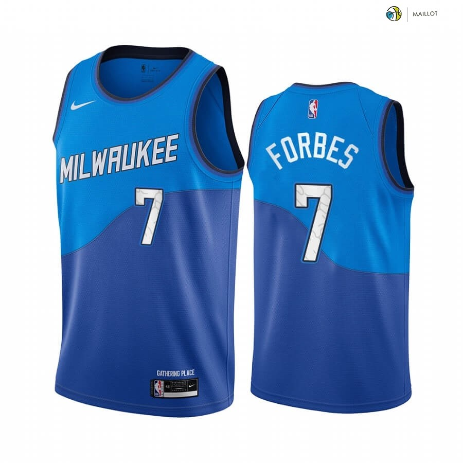 Maillot NBA Enfant Milwaukee Bucks NO.7 Bryn Forbes Bleu Ville 2020-21