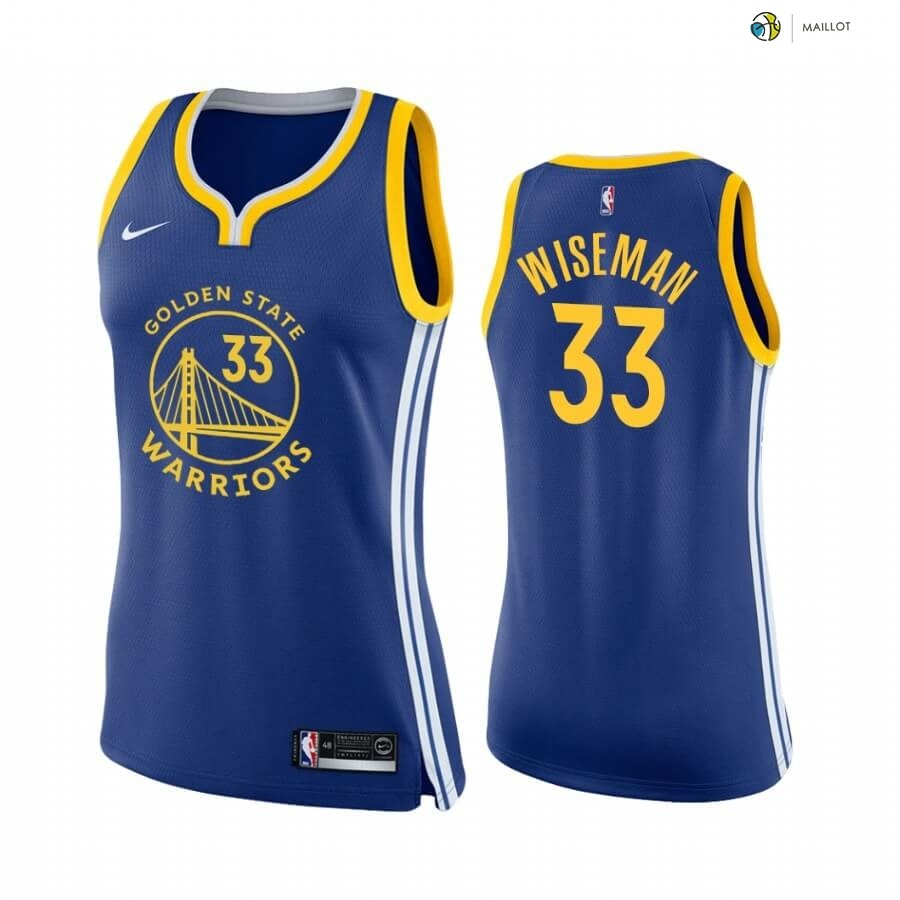Maillot NBA Femme Golden State Warriors NO.33 James Wiseman Bleu Icon 2020-21