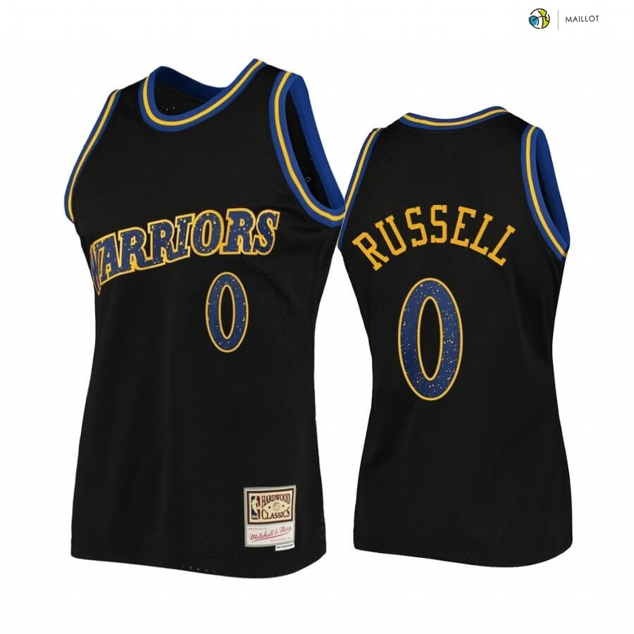 Maillot NBA Golden State Warriors NO.0 D'Angelo Russell Rings Collection Noir Hardwood Classics
