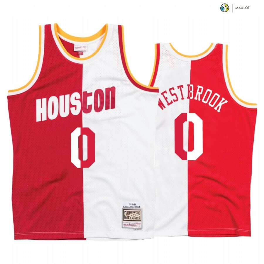 Maillot NBA Houston Rockets NO.0 Russell Westbrook Blanc Rouge Split Hardwood Classics