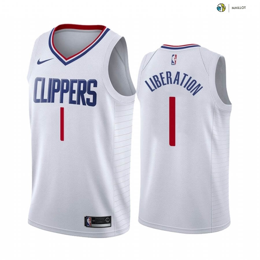 Maillot NBA Los Angeles Clippers NO.1 Reggie Jackson Blanc Association 2020-21