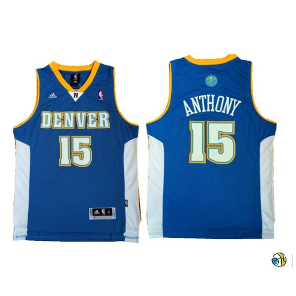 Maillot NBA Denver Nuggets NO.15 Carmelo Anthony Retro Bleu