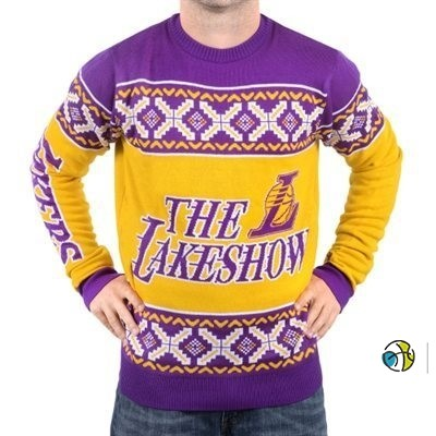 Unisex Ugly Sweater Los Angeles Lakers Jaune Pourpre