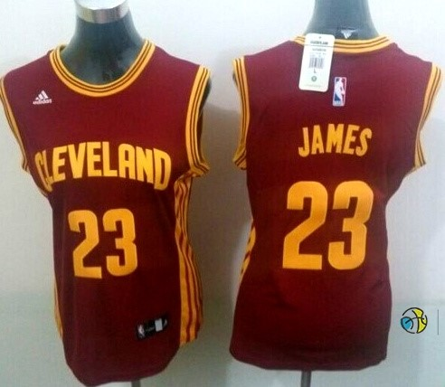 Maillot NBA Femme Cleveland Cavaliers NO.23 LeBron James Rouge Profond
