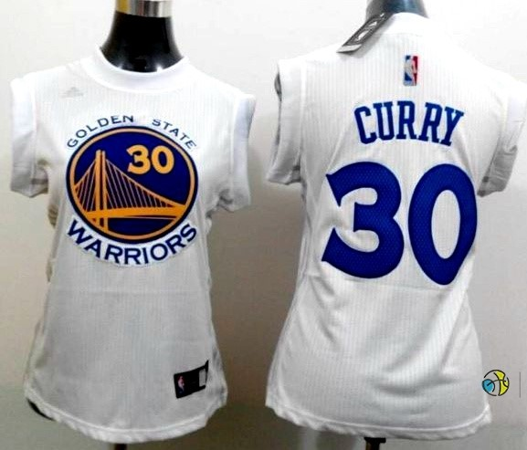 Maillot NBA Femme Golden State Warriors NO.30 Stephen Curry Blanc Bleu