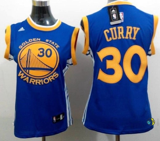 Maillot NBA Femme Golden State Warriors NO.30 Stephen Curry Bleu Jaune