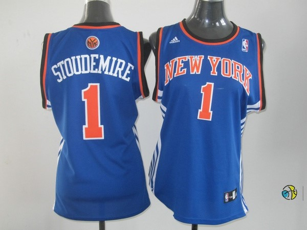 Maillot NBA Femme New York Knicks NO.1 Amar'e Stoudemire Bleu Orange