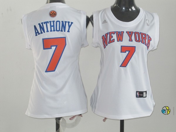 Maillot NBA Femme New York Knicks NO.7 Carmelo Anthony Blanc Orange