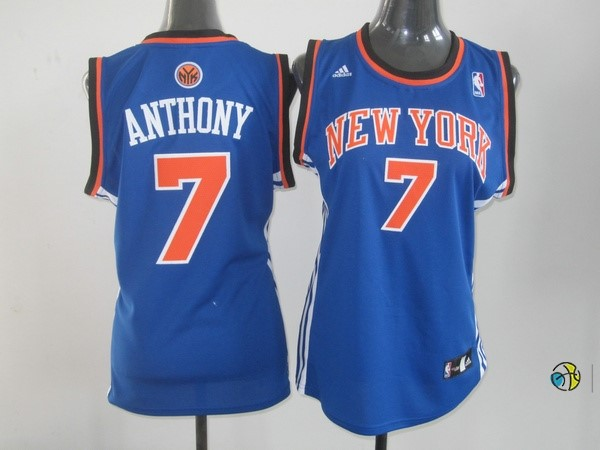 Maillot NBA Femme New York Knicks NO.7 Carmelo Anthony Bleu Orange