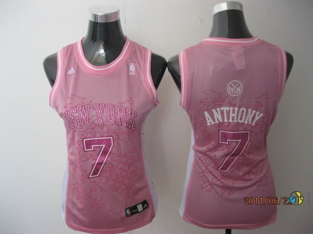 Maillot NBA Femme New York Knicks NO.7 Carmelo Anthony Rose