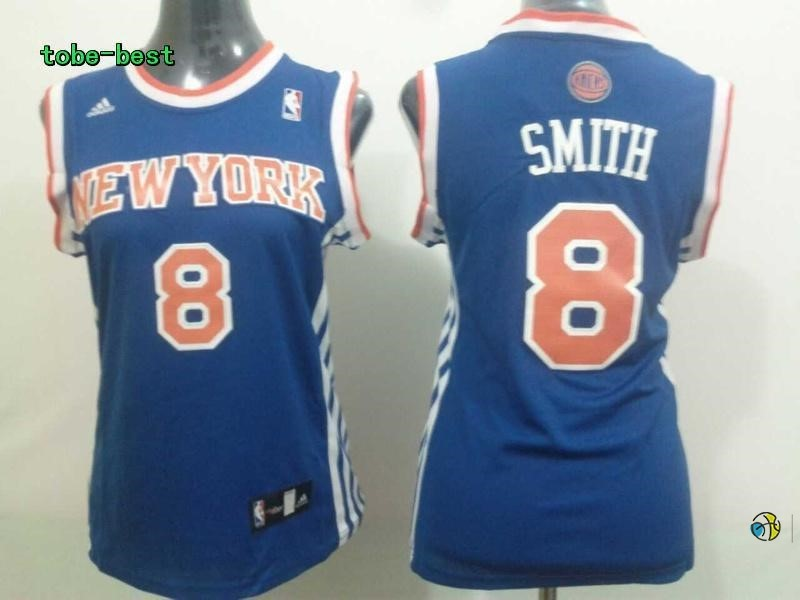 Maillot NBA Femme New York Knicks NO.8 JR.Smith Bleu