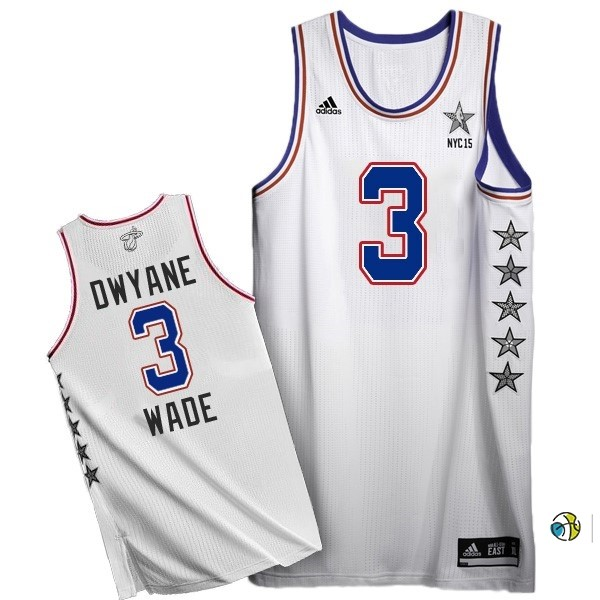 Maillot NBA 2015 All Star NO.3 Dwyane Wade Blanc