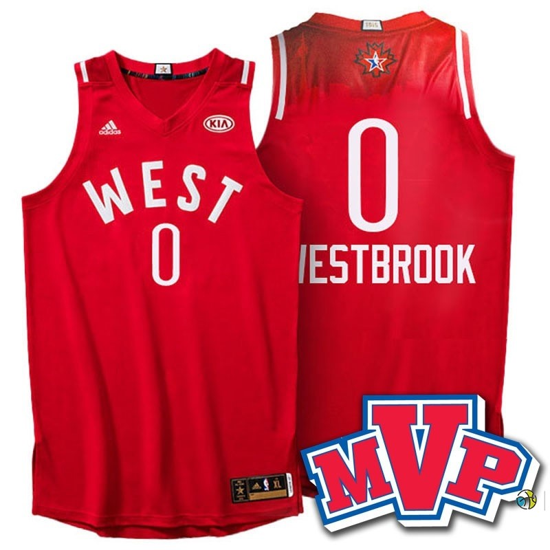 Maillot NBA 2016 All Star NO.0 Russell Westbrook Rouge