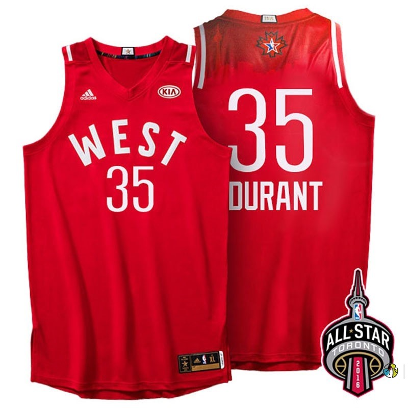 Maillot NBA 2016 All Star NO.35 Kevin Durant Rouge