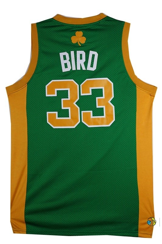 Maillot NBA Boston Celtics No.33 Larry Joe Bird Vert Orange