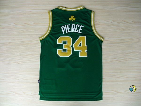 Maillot NBA Boston Celtics No.34 Paul Pierce Vert Or