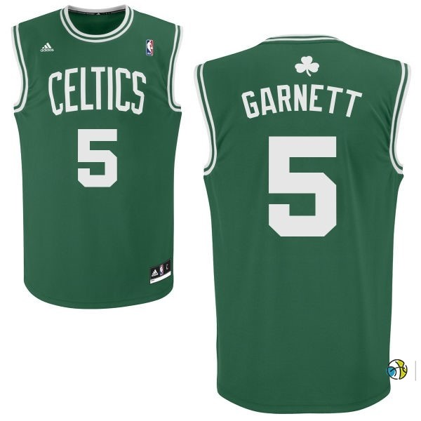 Maillot NBA Boston Celtics No.5 Kevin Garnett Vert Blanc
