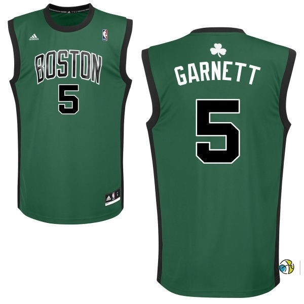 Maillot NBA Boston Celtics No.5 Kevin Garnett Vert Noir