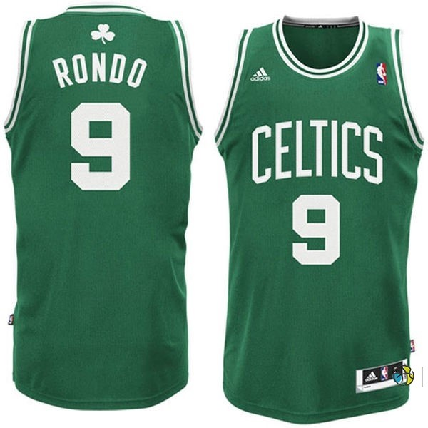 Maillot NBA Boston Celtics No.9 Rajon Rondo Vert Blanc