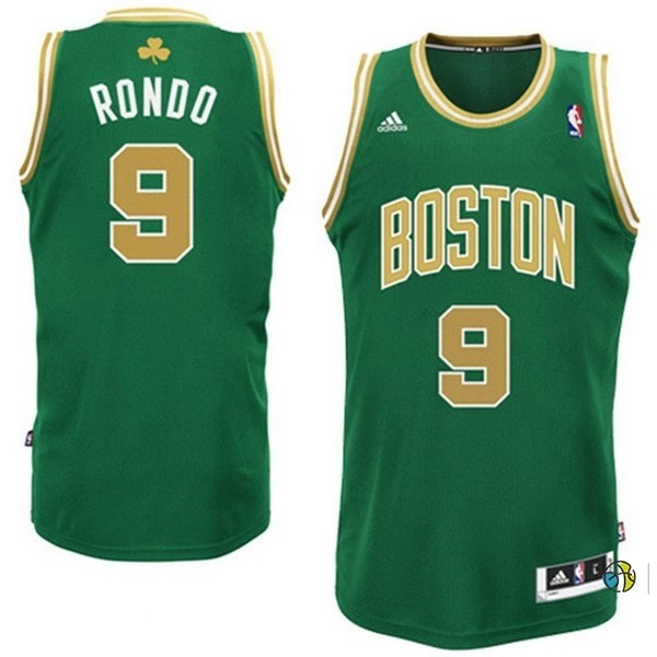 Maillot NBA Boston Celtics No.9 Rajon Rondo Vert Or