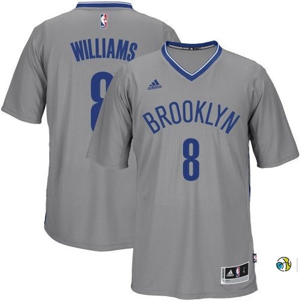 Maillot NBA Brooklyn Nets Manche Courte No.8 Deron Michael Williams Gris