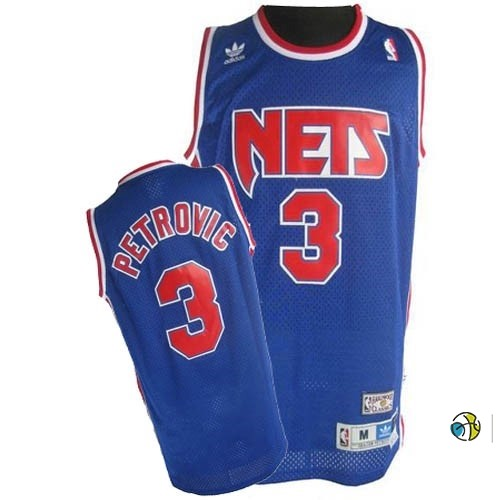 Maillot NBA Brooklyn Nets No.3 Drazen Petrovic Bleu