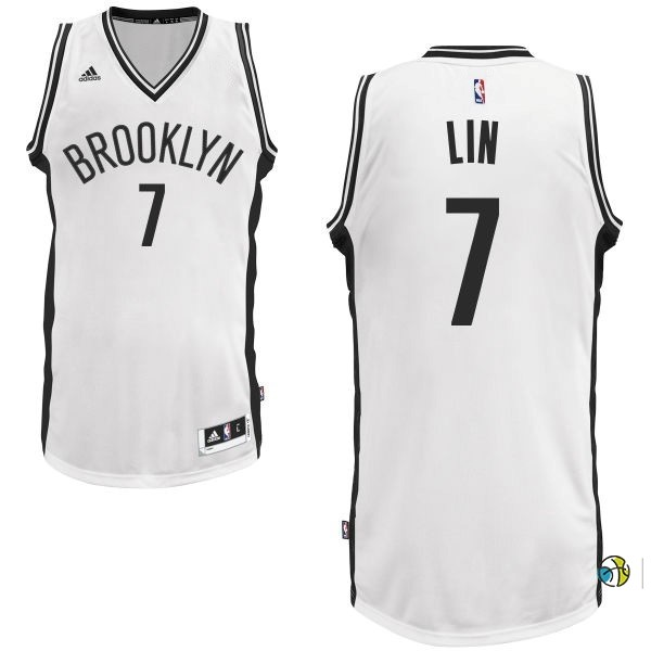 Maillot NBA Brooklyn Nets No.7 Jeremy Lin Blanc