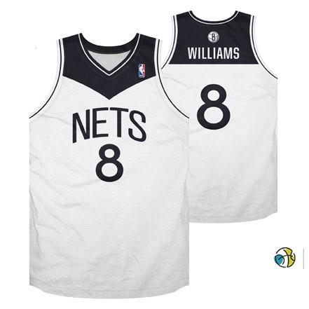 Maillot NBA Brooklyn Nets No.8 Deron Michael Williams Blanc Noir